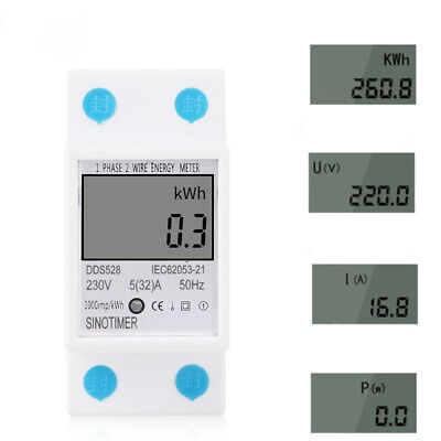 DDS528 LCD Digital Display Energy Meter 230V AC 50Hz Power Consumption kWh Meter