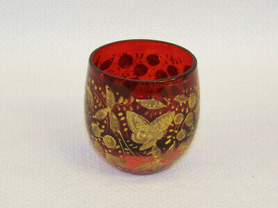 C1890 Antique Butterfly & Leaf Gilded Ruby Cranberry Glass Salt Cellar ? Moser ?
