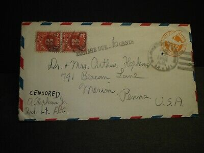 APO 627 KUNMING, CHINA 1943 Censored WWII Army Cover 14th AIR FORCE Postage Due