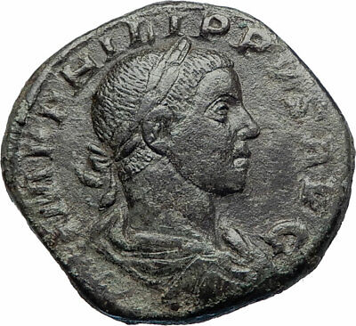 PHILIP II as Augustus Ancient 247AD Rome Sestertius Ancient Roman Coin i73531
