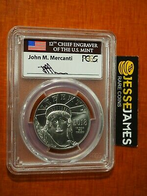 2018 $100 Platinum Eagle Pcgs Ms70 Flag Mercanti First Strike Pop 50