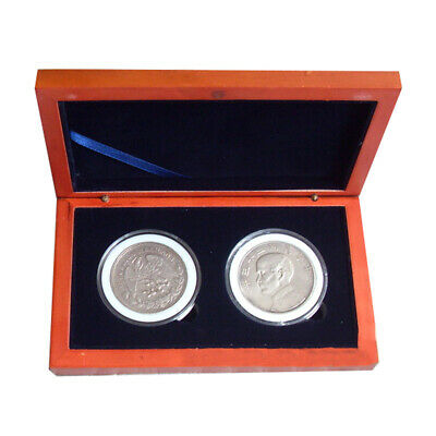 Oak Slab Wood Collection Coin Storage Box Display Holder for 2Pcs 52mm Round Coi