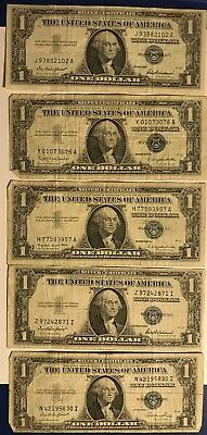 Lot of 5 One $1 Dollar Bills Silver Certificates Vintage Notes 1935 E F 1957 A B