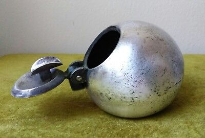 Valenti Spain Cannonball Hidden Ash Tray Silvered Metal Mid Century 007 Chic