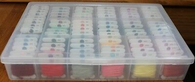 DMC Embroidery Floss Cotton 6 Strand Organizer Box Lot of 94 Color Range 90-815