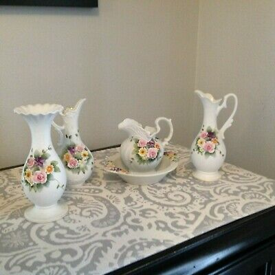 Vintage Lefton China Pitcher & Bowl, Vase and Two small pitchers