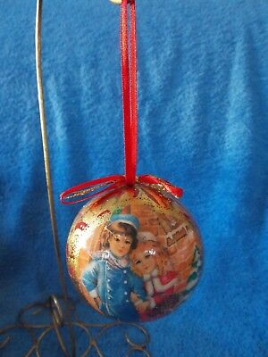 Vintage Paper Mache Victorian Boy & Girl Ball Christmas Ornament