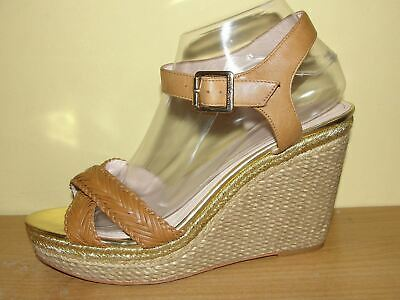 b08bad4b223 Vince Camuto Shoes Brown Leather X-strap Shimmer Gold Platform Wedge Sandals  9M