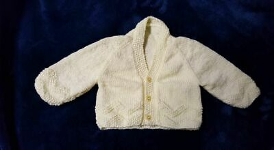 Baby Cardigan, Pants, Beanie, Mittens, Booties Yellow Shiny 4 Ply Sz 0