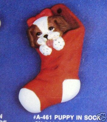 Ceramic Bisque Christmas Ornament Puppy Sock Alberta 461 U-Paint Ready To Paint