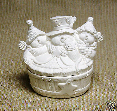 Ceramic Bisque Snowmen Hot Tub Candy Box Kimple Mold 3178 U-Paint Ready To Paint