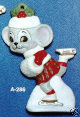 Ceramic Bisque Ornament Girl Mouse Ice Skateing Alberta Mold 286 U-Paint