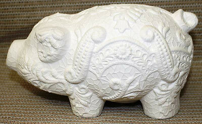 Ceramic Bisque Pig Lace Piggy Bank Boothe Mold 1441 U-Paint Ready To Paint