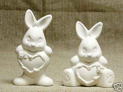 Ceramic Bisque Heart Belly Bunnies Clay Magic J1023 U-Paint Ready To Paint