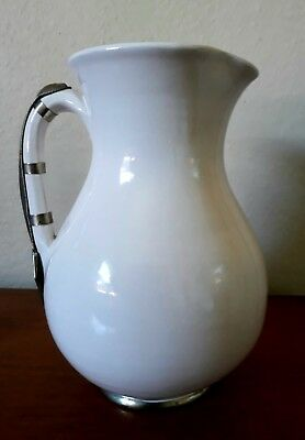 Beautiful signed SAFI Moroccon Antique Jug Or Vase With White Metal Banding