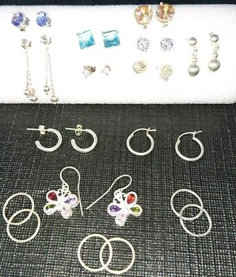 Bulk 925 Solid Sterling Silver Earrings x14 pairs, studs & sleepers, not scrap