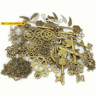 LolliBeads 230 Gram Antiqued Bronze/Silver Metal Skeleton Keys and Wings, Bronze
