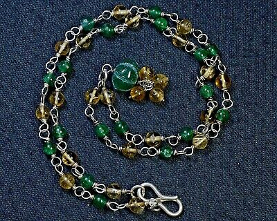 N-9859 Natural Aventurine Gemstone Rondelle Vermiel 102ct 4-5mm Necklace $