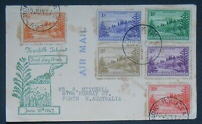 Classic Norfolk Island 1947 first definitives airmail FDC to Perth, SC1-4, 13