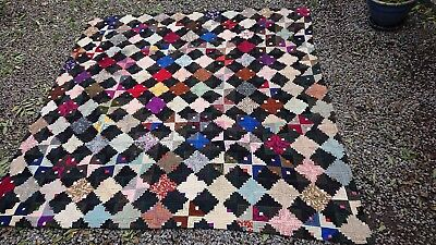 Stunning Antique Log Cabin Patchwork Quilt - Hand Made, unique, rare and unusual