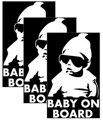 Silver White Reflective Baby on Board Car Decal Sticker Sign, Cap Style, 3-PACK