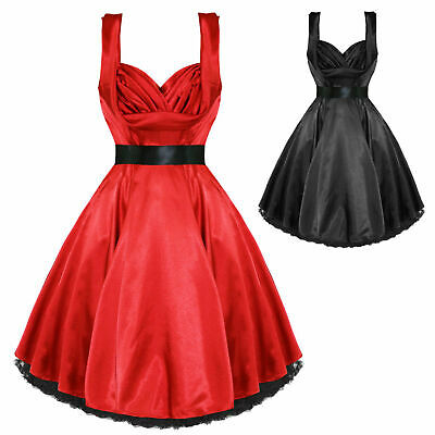 7f4e524f3c78 Hearts and Roses London Satin Vintage 1950s Retro Pinup Party Prom Swing  Dress