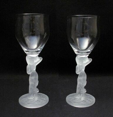 Pair Of Vintage Frosted Nude Naked Lady Stem Wine Glasses Art Deco