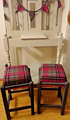 Upcycled Pair of Vintage Wooden Stools