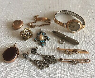 collection antique jewellery Pin Broach Watch Earrings Etc