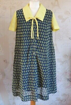 Vintage Mod 60's-70's Retro Kitsch Yellow Peak Collar Aline Swing Smock Dress 12