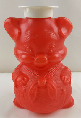Vintage Pig Piggy Bank Plastic Mold Red Advertisement Meats Store 1950s-1960s