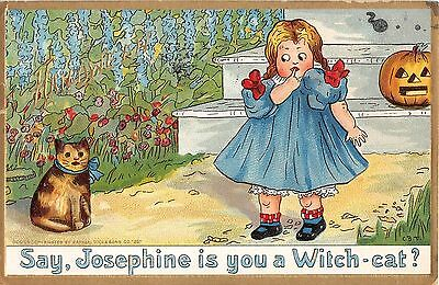 1913 Witch Cat w/ Small Girl Jack O'Lantern Halloween post card Tuck