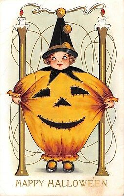 1915 Boy Dressed in Jack O' Lantern Costume Halloween post card Whitney