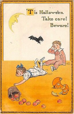 1913 Boy & Girl with Broken Jack O Lantern Bat & Moon post card Tuck