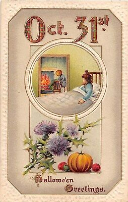 1911 Jack O Lantern Headed Man Thistle & Plaid Halloween post card