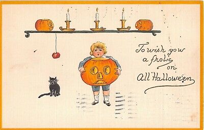 1912 Boy with Jack O Lantern & Black Cat Halloween post card