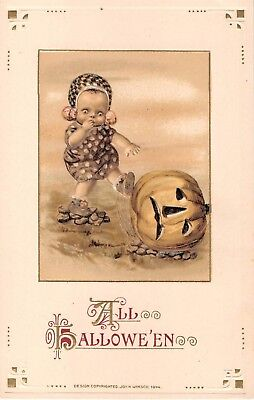 1914 Freixas Winsch Child Kicking Jack O' Lantern All Halloween post card