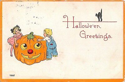 c.1910 Boy & Girl Jack O Lantern Black Cat Halloween post card