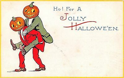 1912 Jack O'Lantern Headed Men Jolly Halloween post card