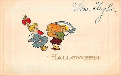 c.1913 Jack O Lantern Boy & Girl Halloween post card