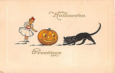 1913 Jack O Lantern Girl & Black Cat Halloween Greetings post card