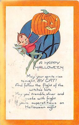 1925 Fairy with Jack O'Lantern Happy Halloween post card Whitney