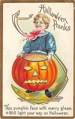 1916 Boy with Large Jack O'Lantern Halloween Pranks post card