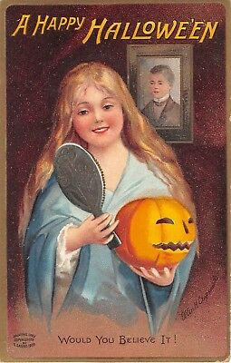 1910 sgd. Clapsaddle Girl with Mirror & Jack O'Lantern Happy Halloween post card