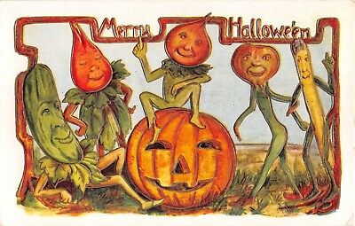 c.1910 Jack O'Lantern & Vegetable People Merry Halloween post card Whitney