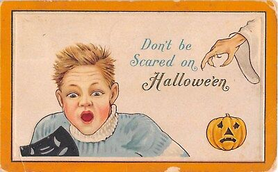 1915 Boy with Jack O Lantern Halloween post card