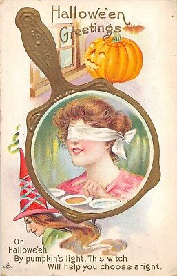 1913 Jack O Lantern Blindfolded Woman Mirror Witch Halloween Greetings post card