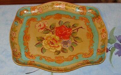 Vtg Floral Paper Mache Dresser Table Tray Made in Occupied Japan Lovely!