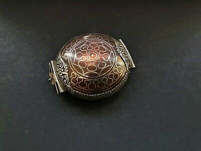 Antique Copper/brass Silver Inlay Pocket Watch Style Amulet Niello Case