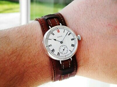WWI Elgin RED XII Trench Watch, Keystone Sterling Case, Sterling Buckle, 17j, 0s